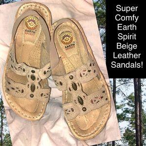 Super Comfy Earth Spirit Beige Leather Sandals!